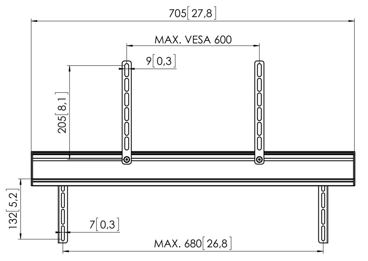 Vogel's SOUND 3450 Sound Bar Mount - Dimensions