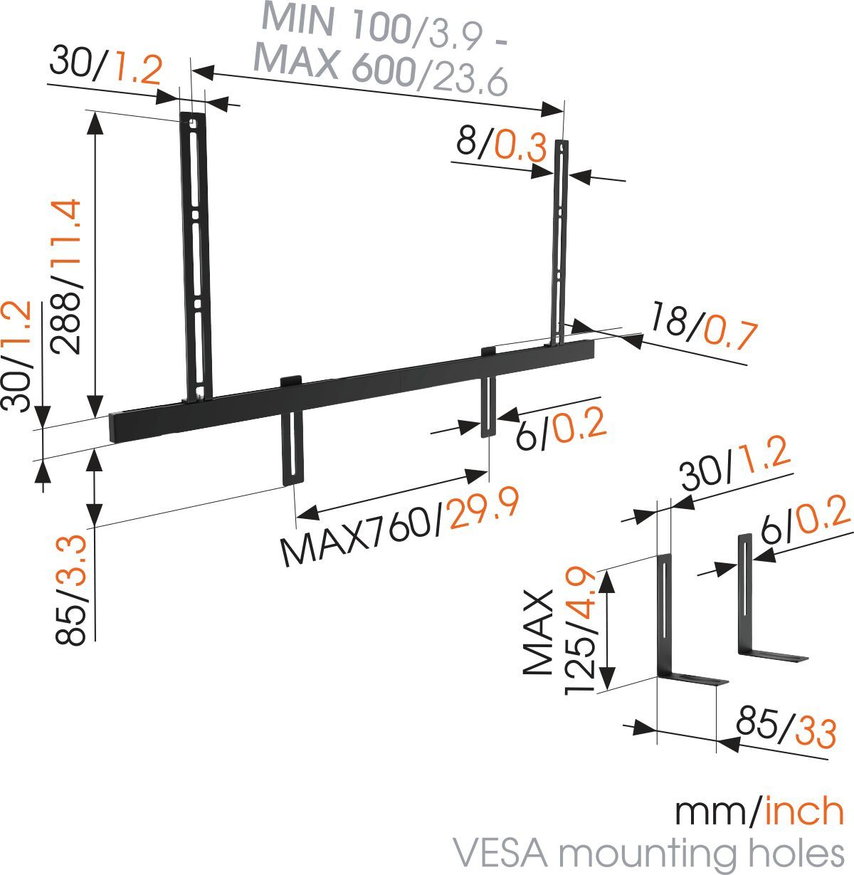Vogel's SOUND 3550 Sound Bar Mount - Dimensions