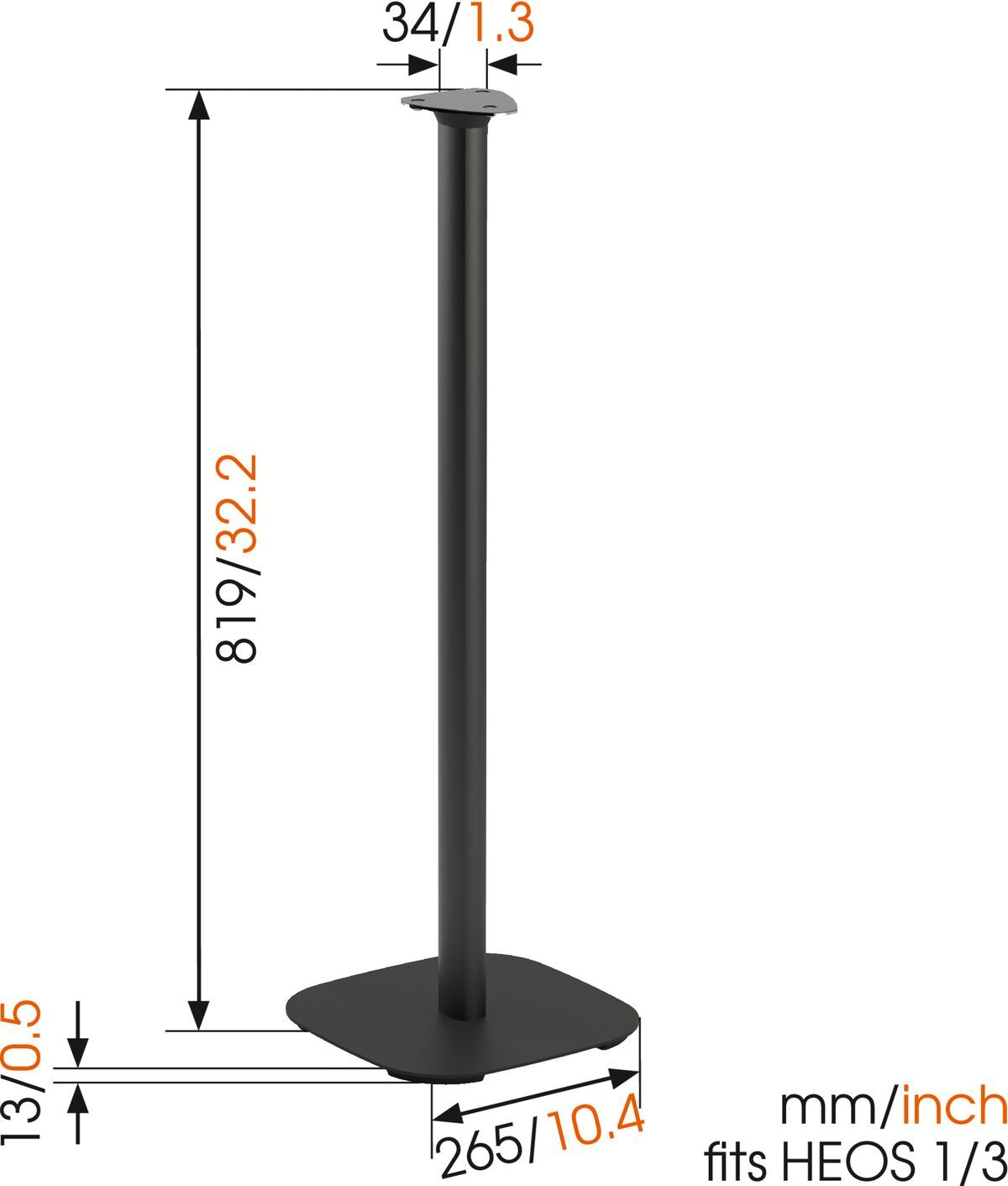 Vogel's SOUND 5313 Speaker Stand for Denon HEOS 1 / HEOS 3 (black) - Dimensions