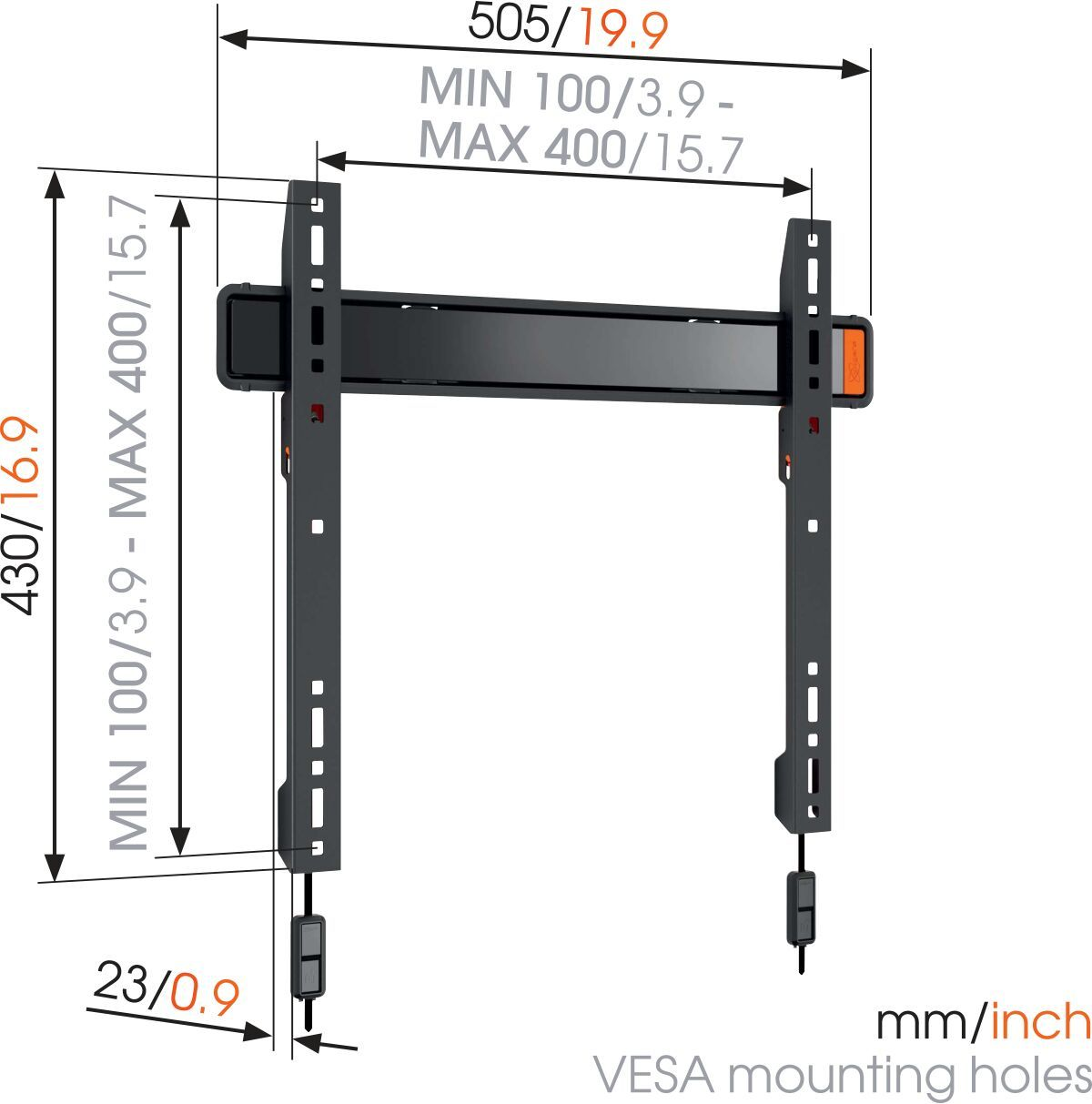 Vogel's WALL 2205 Fixed TV Wall Mount - Suitable for 32 up to 55 inch TVs up to kg - Dimensions