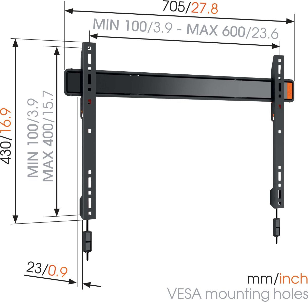 Vogel's WALL 2305 Fixed TV Wall Mount - Suitable for 40 up to 80 inch TVs up to kg - Dimensions