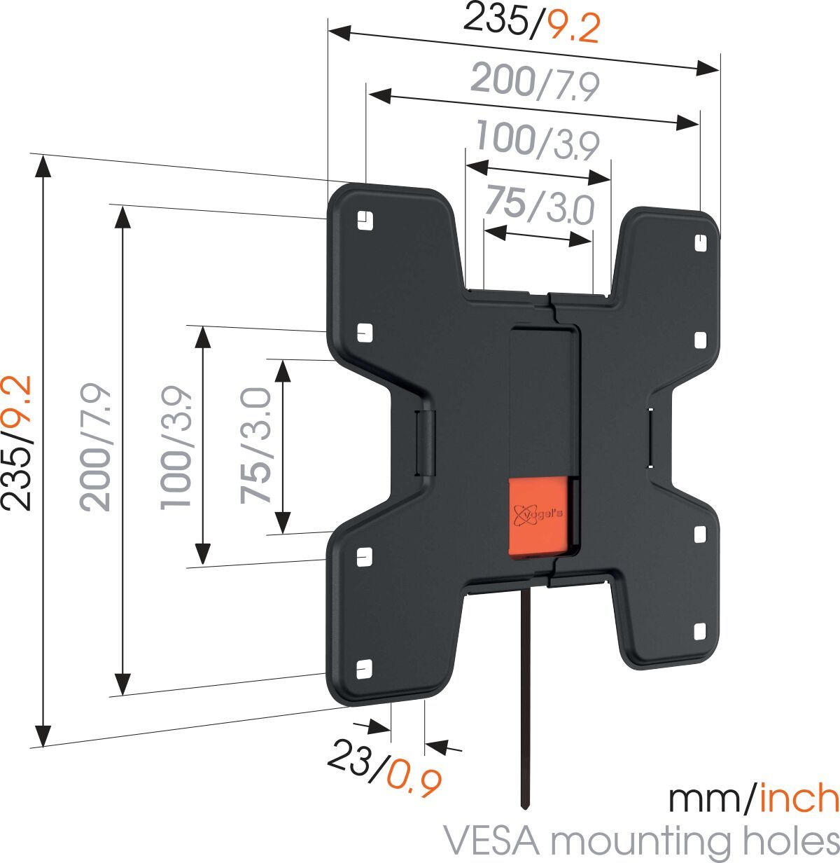 Vogel's WALL 3105 Fixed TV Wall Mount - Suitable for 19 up to 43 inch TVs up to 20 kg - Dimensions