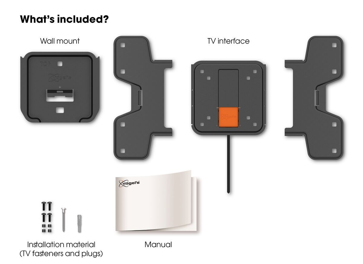 Vogel's WALL 3105 Fixed TV Wall Mount - Suitable for 19 up to 43 inch TVs up to 20 kg - What's in the box