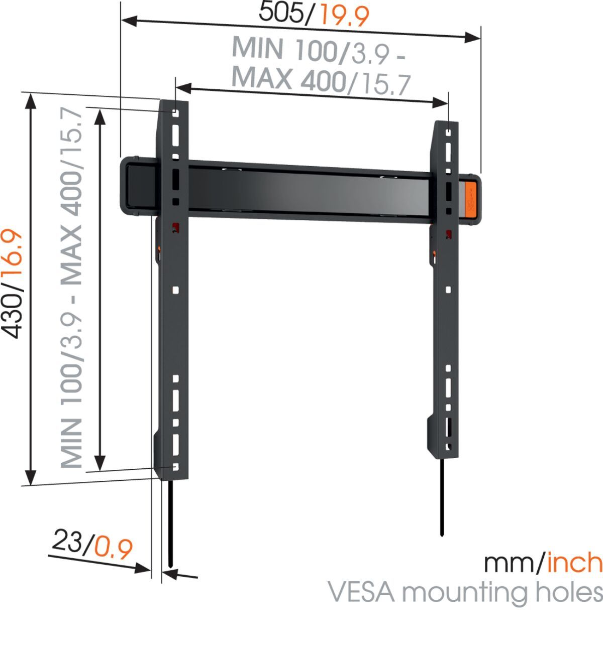 Vogel's WALL 3205 Fixed TV Wall Mount - Suitable for 32 up to 55 inch TVs up to 50 kg - Dimensions