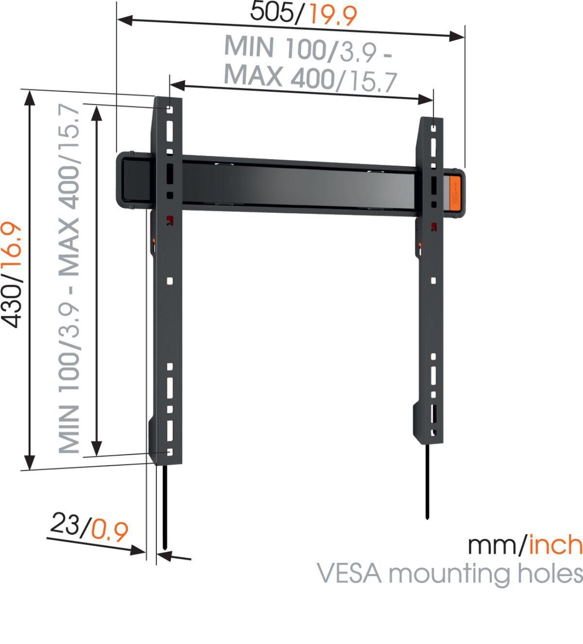 Vogel's WALL 3205 Staffa TV Fisso - Adatto per televisori da 32 a 55 pollici fino a 50 kg - Dimensions