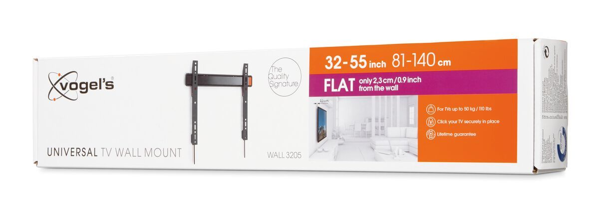 Vogel's WALL 3205 Fixed TV Wall Mount - Suitable for 32 up to 55 inch TVs up to 50 kg - Pack shot 3D