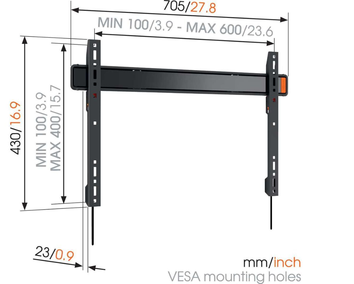 Vogel's WALL 3305 Fixed TV Wall Mount - Suitable for 40 up to 100 inch TVs up to 80 kg - Dimensions