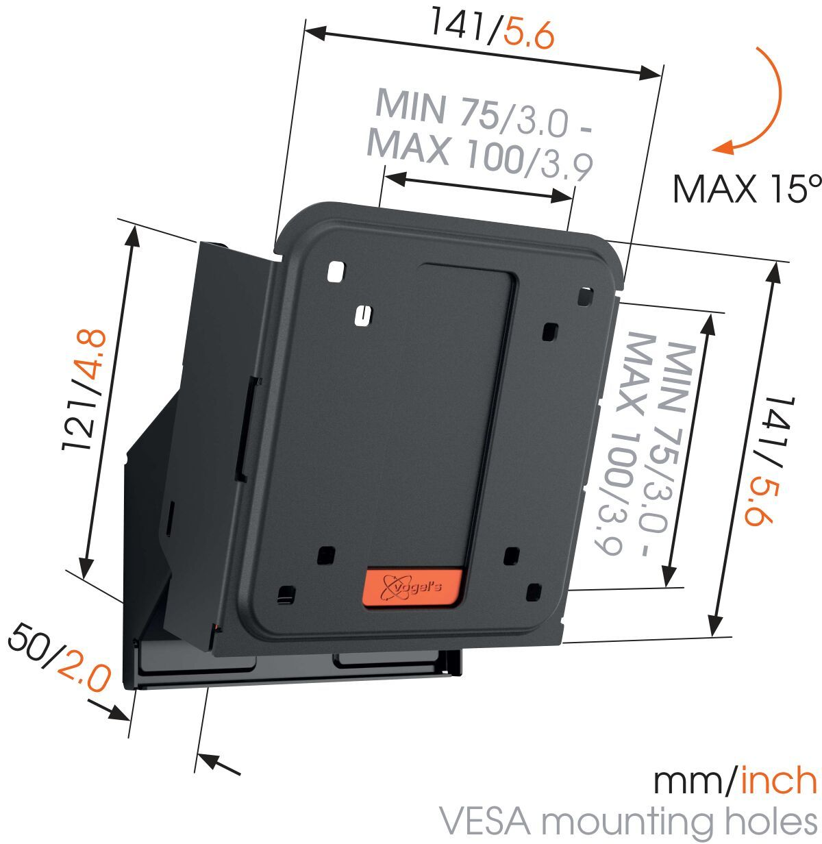 Vogel's WALL 2015 Tilting TV Wall Mount - Suitable for 17 up to 26 inch TVs up to kg - Tilt up to 15° - Dimensions