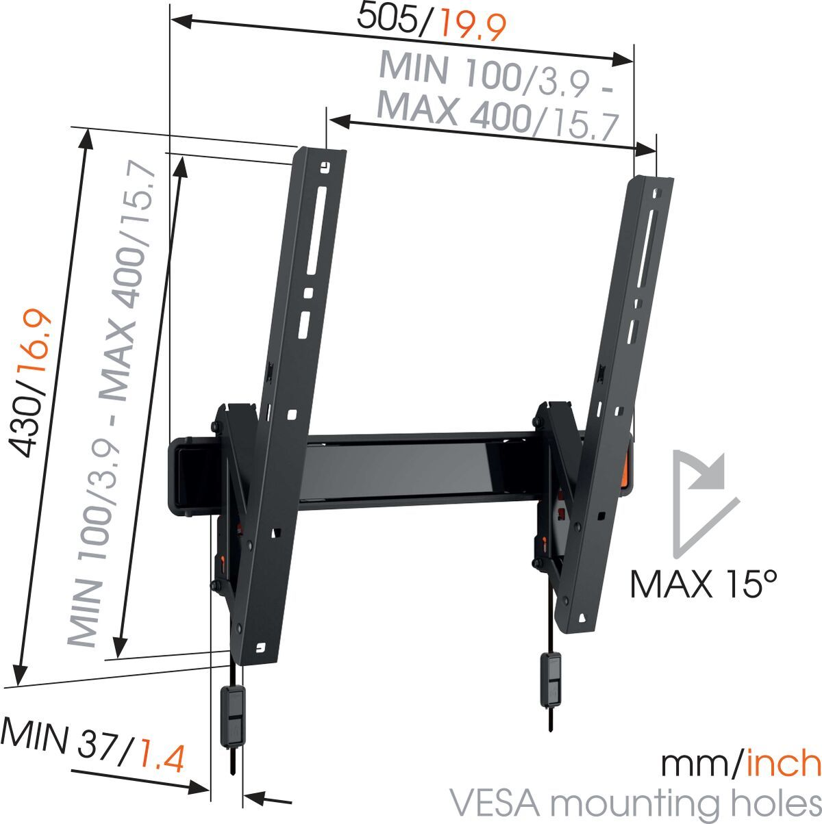 Vogel's WALL 2215 Tilting TV Wall Mount - Suitable for Tilt up to 15° - Suitable for Dimensions