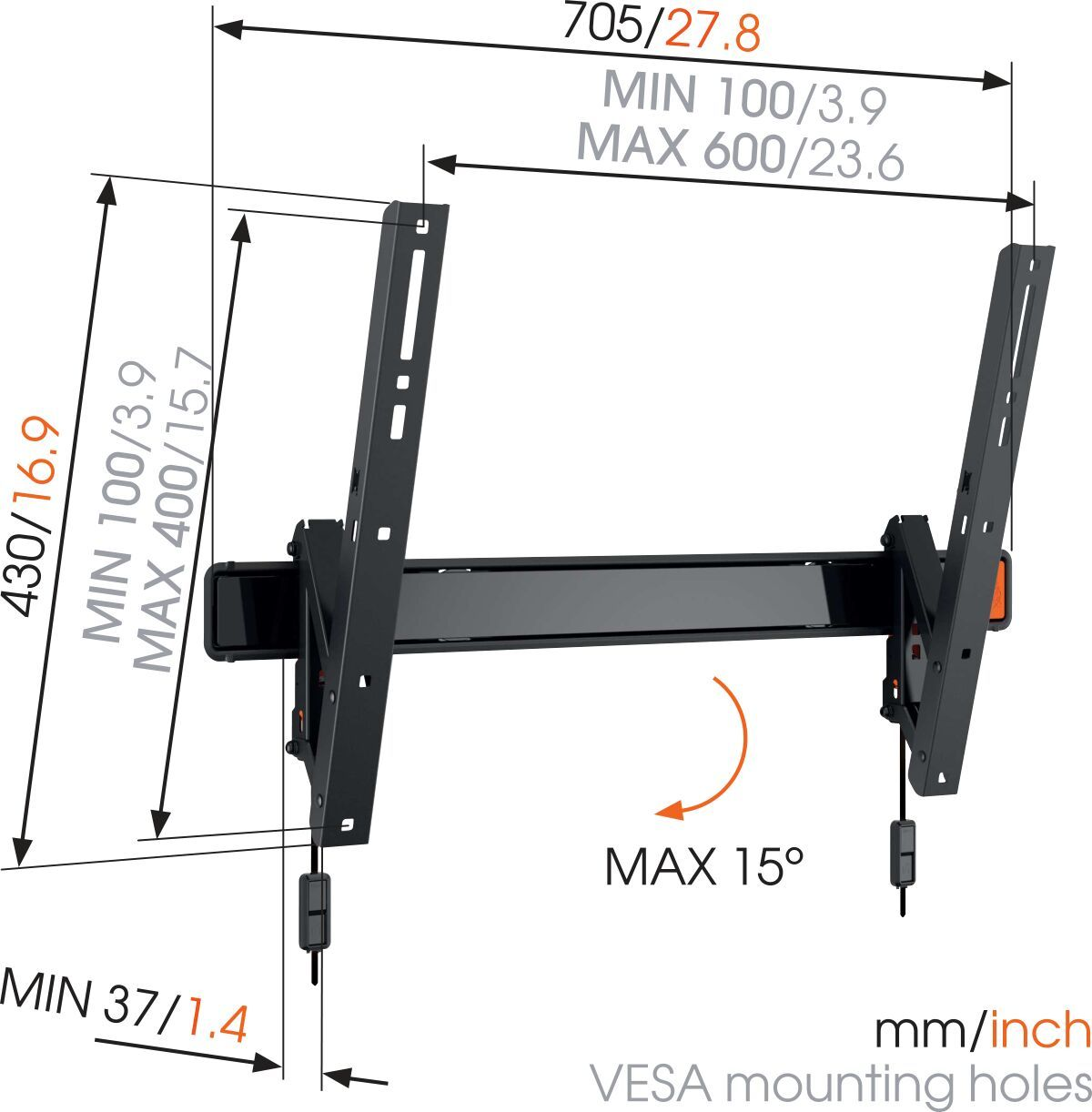 Vogel's WALL 2315 Soporte TV Inclinable - Adecuado para televisores de 40 a 65 pulgadas hasta kg - Abatible hasta 15° - Dimensions