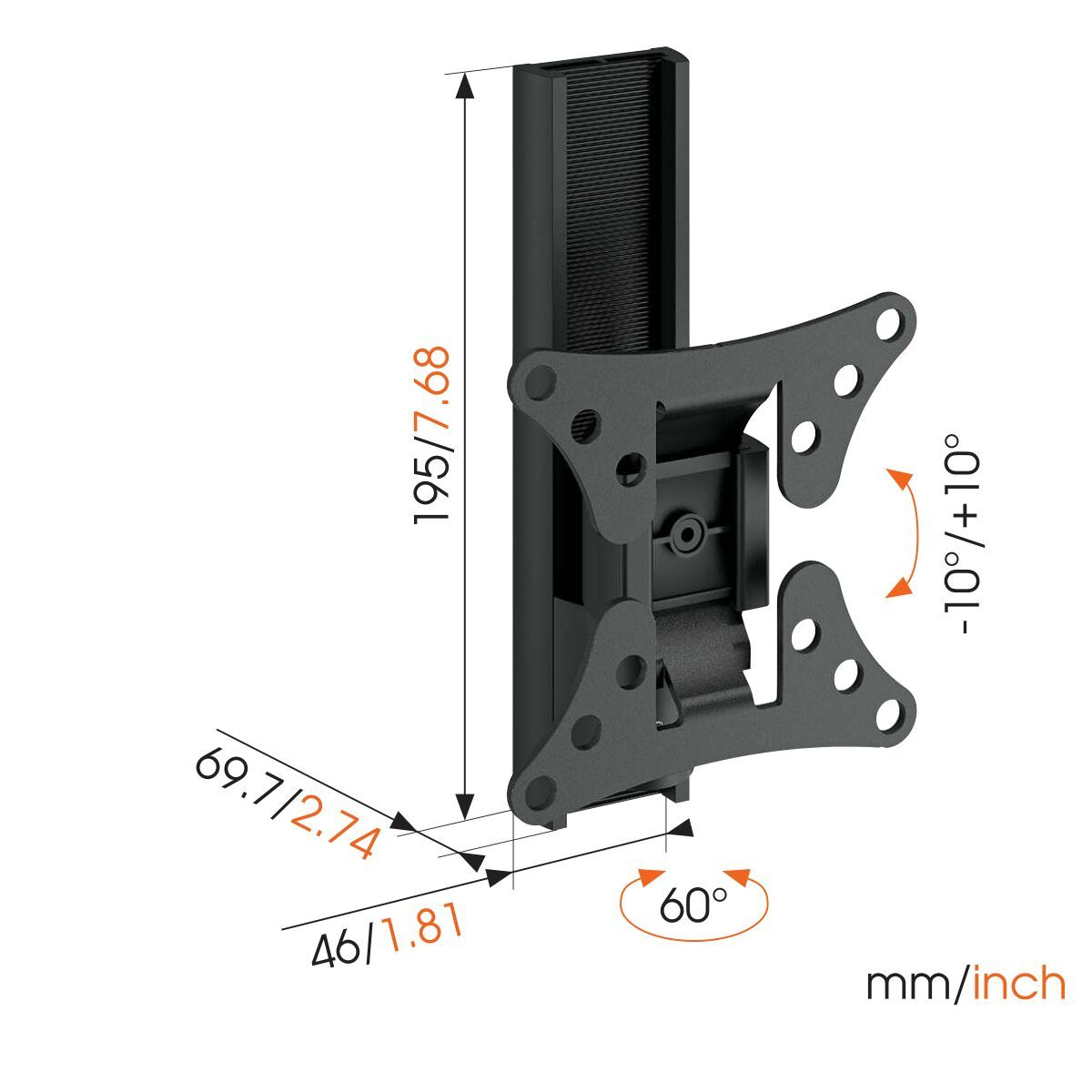 Vogel's WALL 1020 Full-Motion TV Wall Mount - Suitable for 17 up to 26 inch TVs - Limited motion (up to 60°) - Tilt -10°/+10° - Dimensions