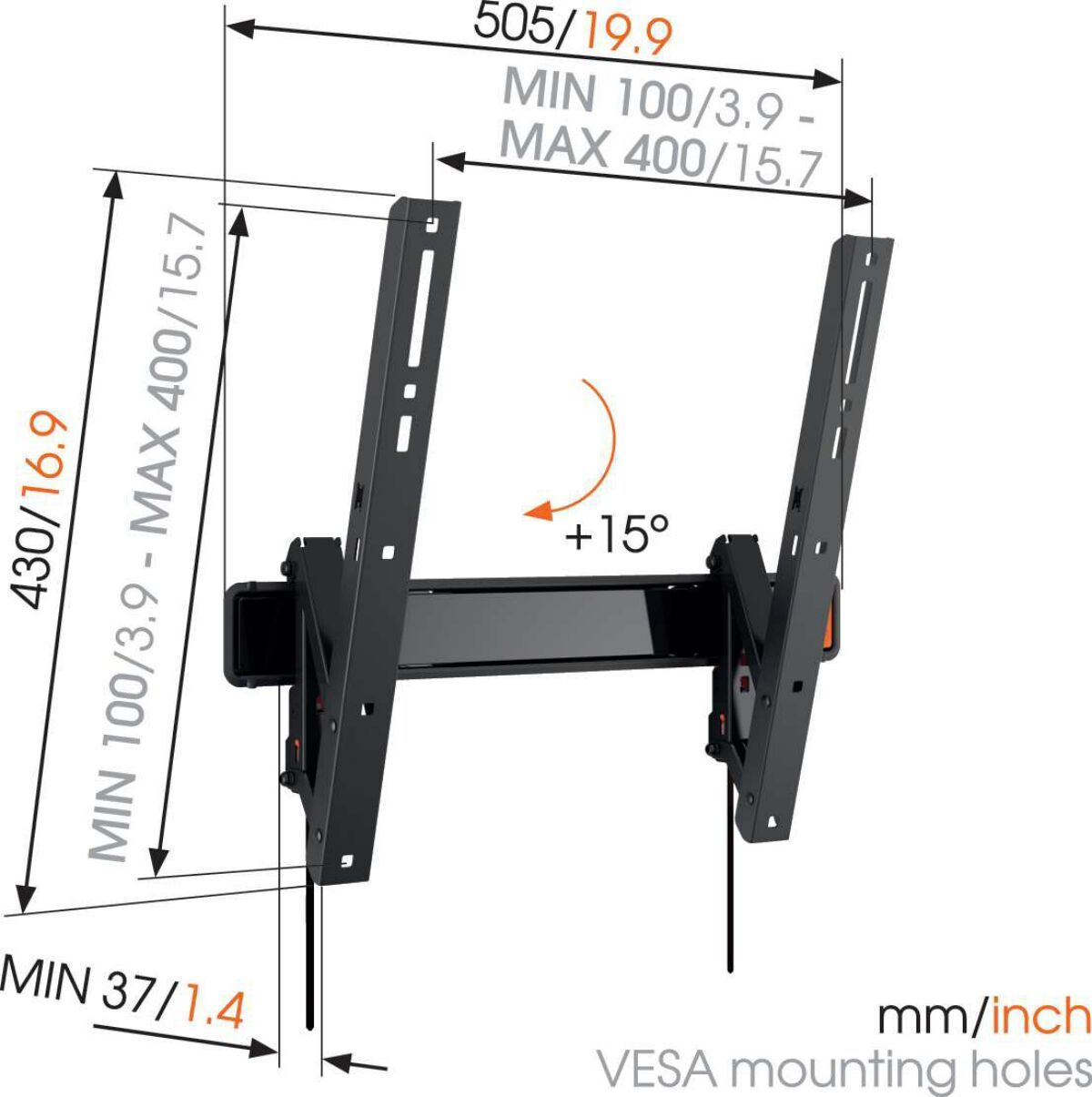 Vogel's WALL 3215 Soporte TV Inclinable - Adecuado para televisores de 32 a 55 pulgadas hasta 30 kg - Abatible hasta 15° - Dimensions