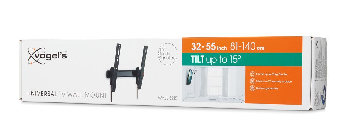 Vogel's WALL 3215 Tilting TV Wall Mount - Suitable for 32 up to 55 inch TVs up to 30 kg - Tilt up to 15° - Pack shot 3D