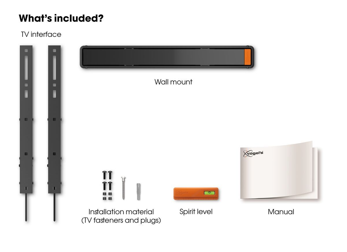 Vogel's WALL 3315 Tilting TV Wall Mount - Suitable for 40 up to 65 inch TVs up to 40 kg - Tilt up to 15° - What's in the box