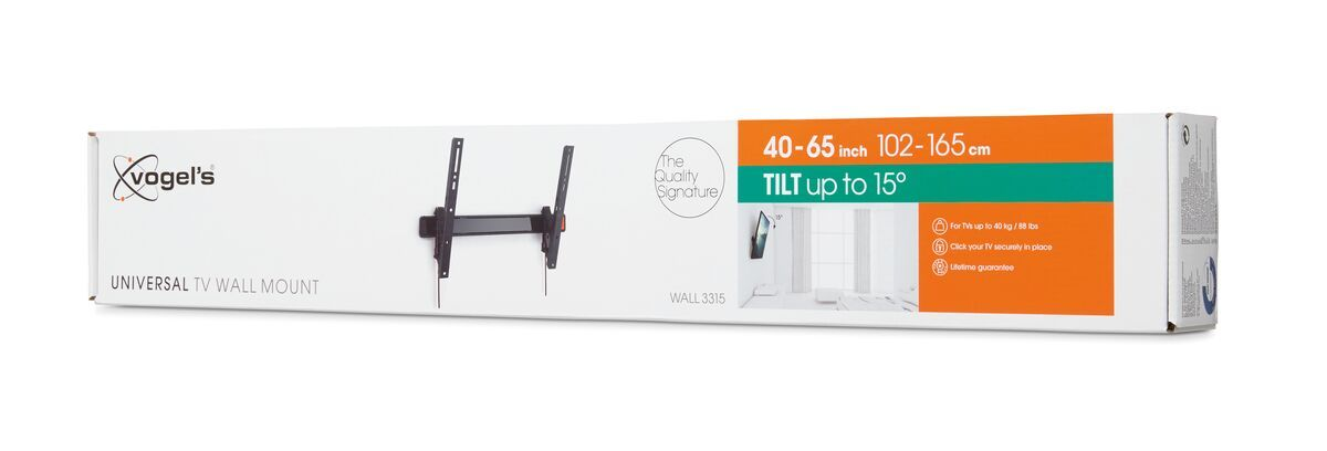 Vogel's WALL 3315 Tilting TV Wall Mount - Suitable for 40 up to 65 inch TVs up to 40 kg - Tilt up to 15° - Pack shot 3D