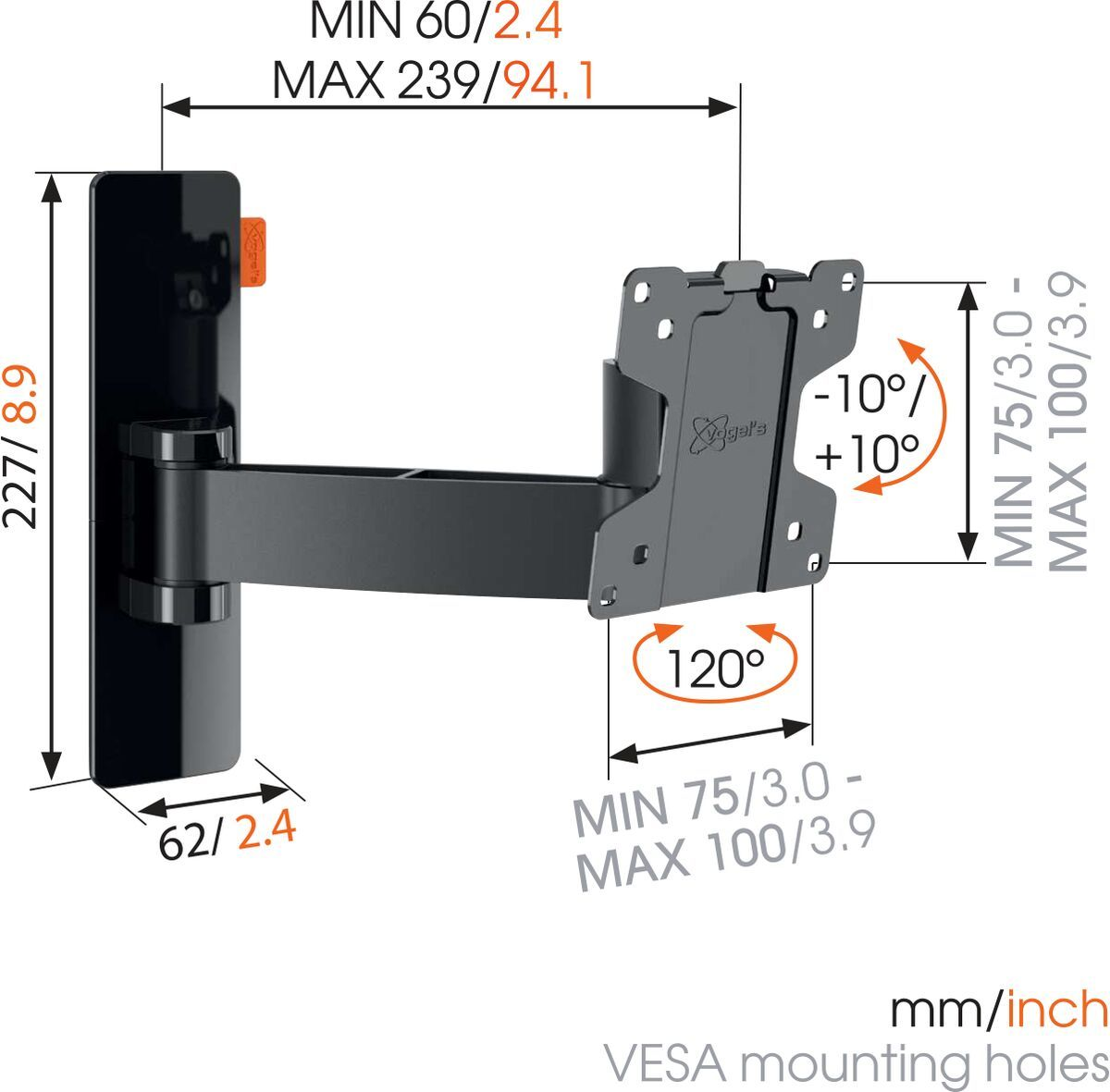 Vogel's WALL 2025 Full-Motion TV Wall Mount (black) - Suitable for 17 up to 26 inch TVs - Motion (up to 120°) - Tilt -10°/+10° - Dimensions