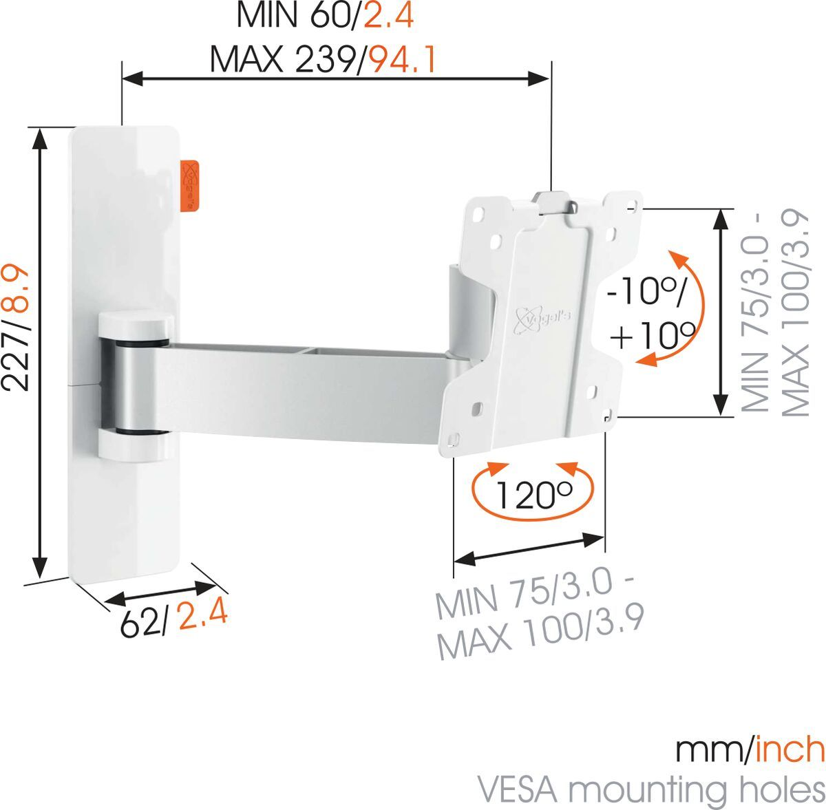Vogel's WALL 2025 Full-Motion TV Wall Mount (white) - Suitable for 17 up to 26 inch TVs - Motion (up to 120°) - Tilt -10°/+10° - Dimensions