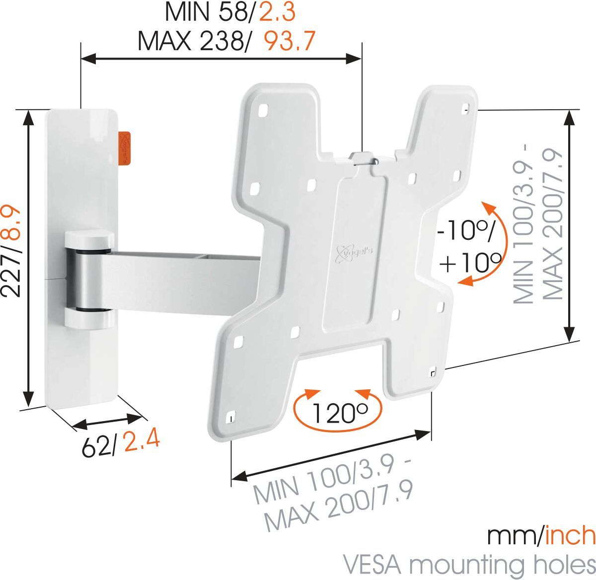 Vogel's WALL 2125 Full-Motion TV Wall Mount (white) - Suitable for 19 up to 40 inch TVs - Motion (up to 120°) - Tilt -10°/+10° - Dimensions