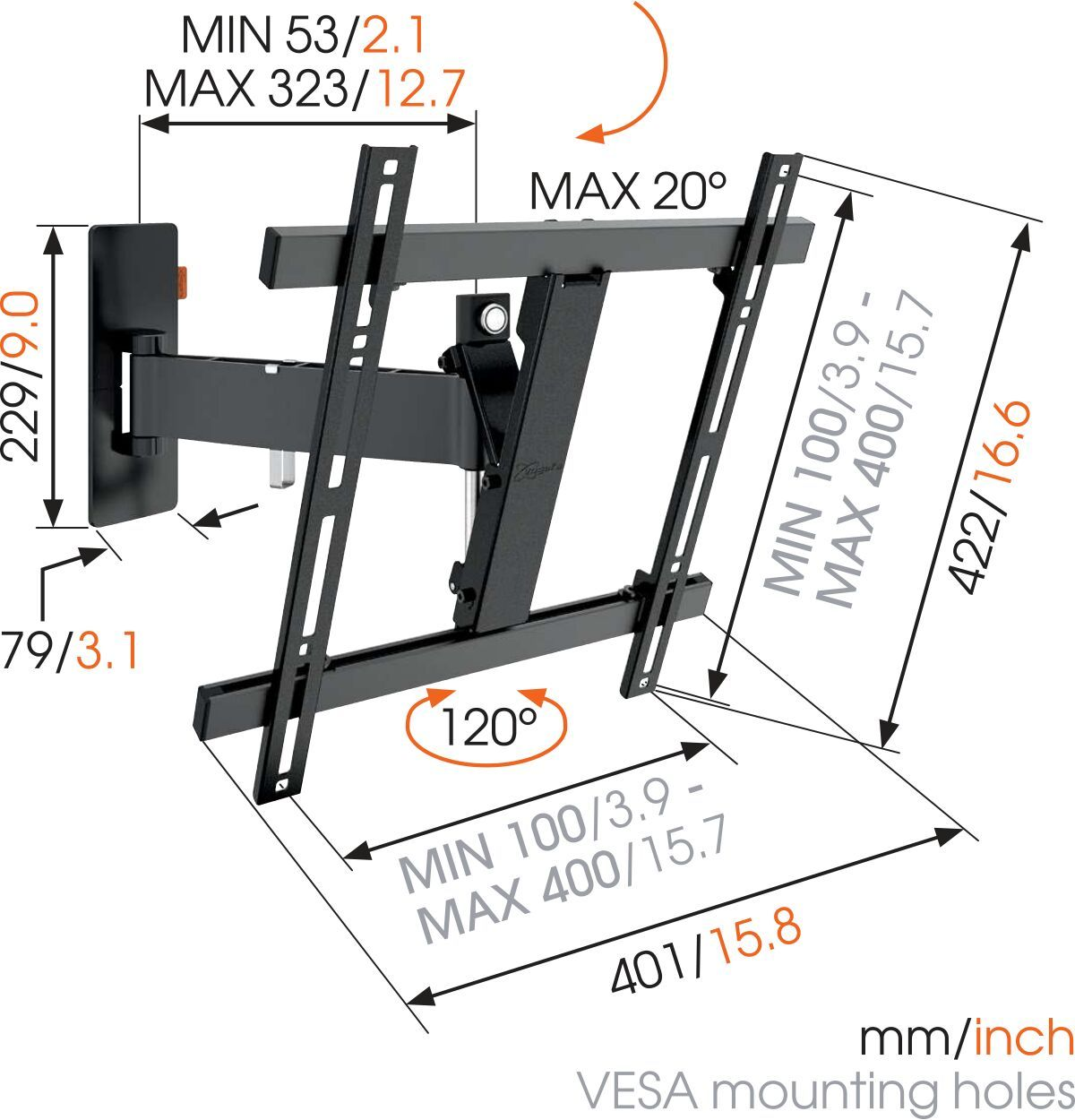 Vogel's WALL 2225 Full-Motion TV Wall Mount (black) - Suitable for Motion (up to 120°) - Suitable for Tilt up to 20° - Suitable for Dimensions