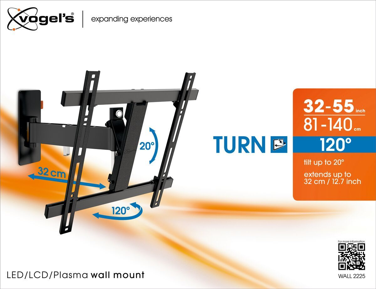 Vogel's WALL 2225 Soporte TV Giratorio (negro) - Adecuado para televisores de 32 a 55 pulgadas - Movimiento (hasta 120°) - Abatible hasta 20° - Packaging front