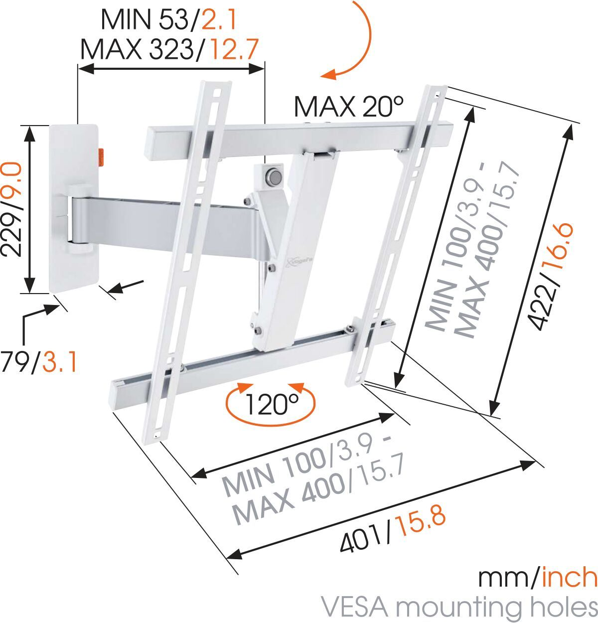 Vogel's WALL 2225 Full-Motion TV Wall Mount (white) - Suitable for 32 up to 55 inch TVs - Motion (up to 120°) - Tilt up to 20° - Dimensions