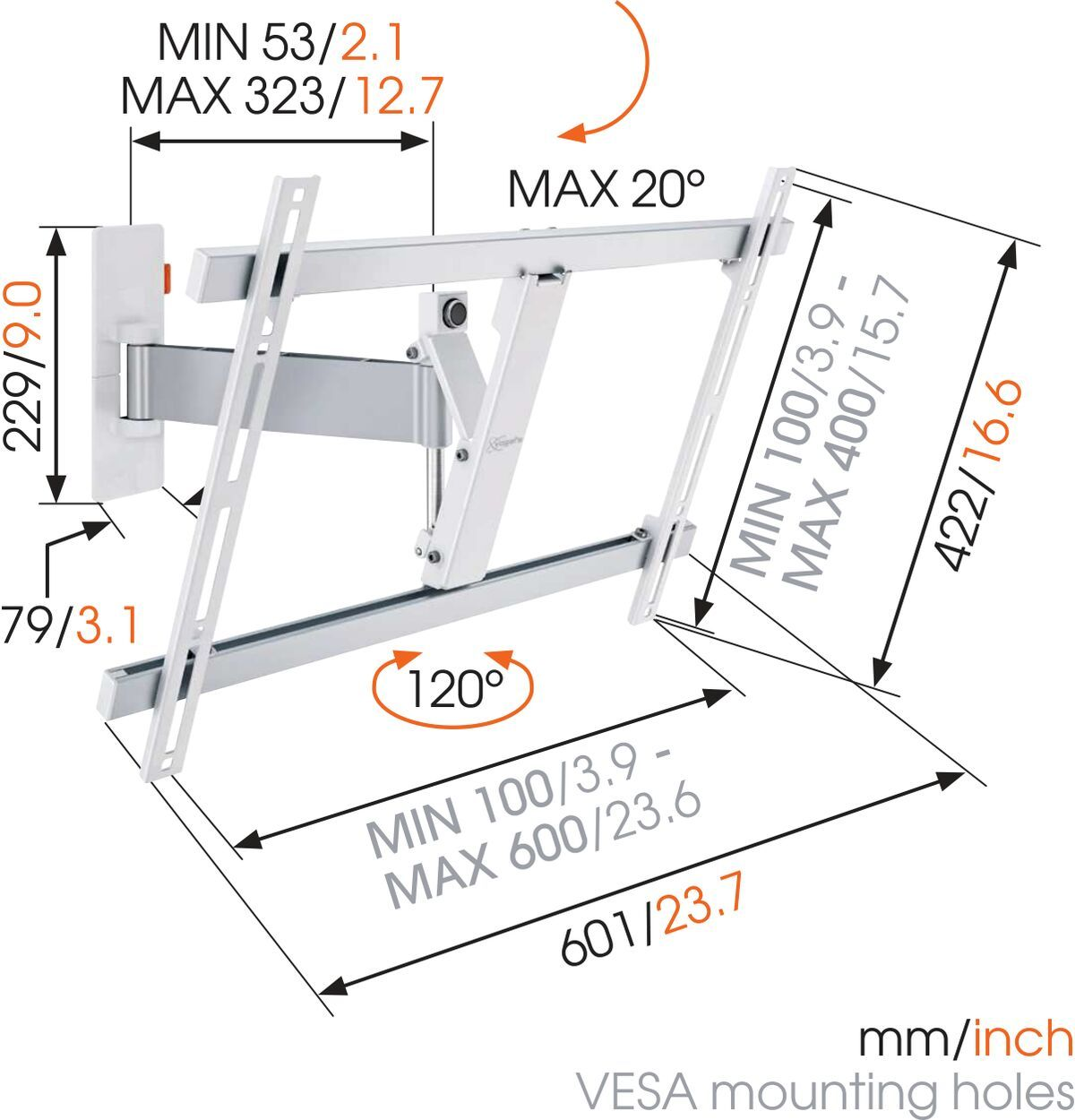 Vogel's WALL 2325 Full-Motion TV Wall Mount (white) - Suitable for Motion (up to 120°) - Suitable for Tilt up to 20° - Suitable for Dimensions