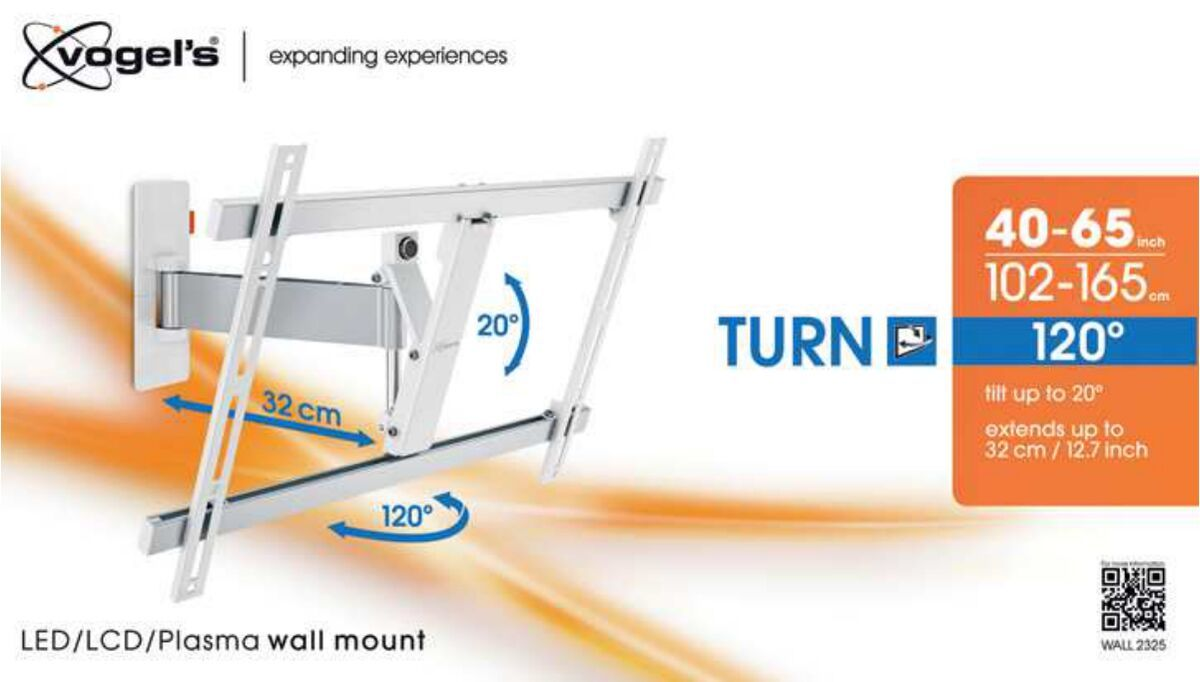 Vogel's WALL 2325 Full-Motion TV Wall Mount (white) - Suitable for Motion (up to 120°) - Suitable for Tilt up to 20° - Suitable for Packaging front