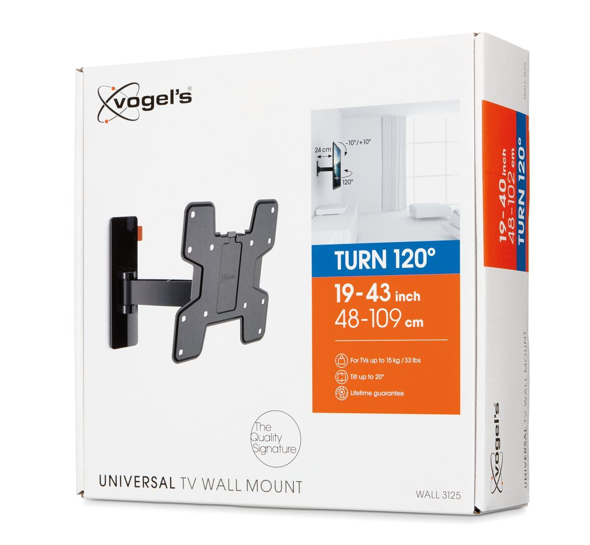 Vogel's WALL 3125 Full-Motion TV Wall Mount - Suitable for 19 up to 43 inch TVs - Motion (up to 120°) - Tilt -10°/+10° - Pack shot 3D