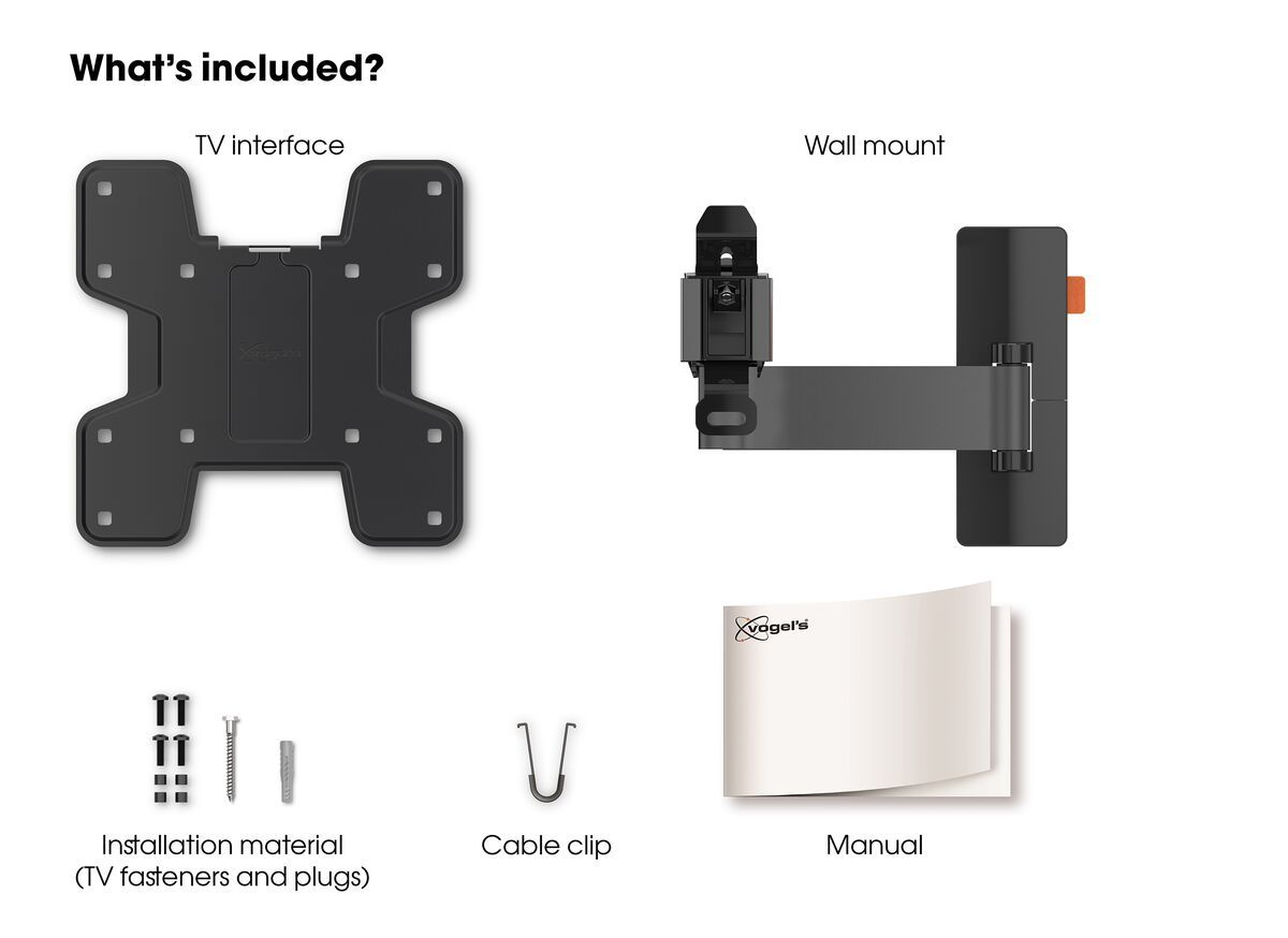 Vogel's WALL 3125 Full-Motion TV Wall Mount - Suitable for 19 up to 43 inch TVs - Motion (up to 120°) - Tilt -10°/+10° - What's in the box