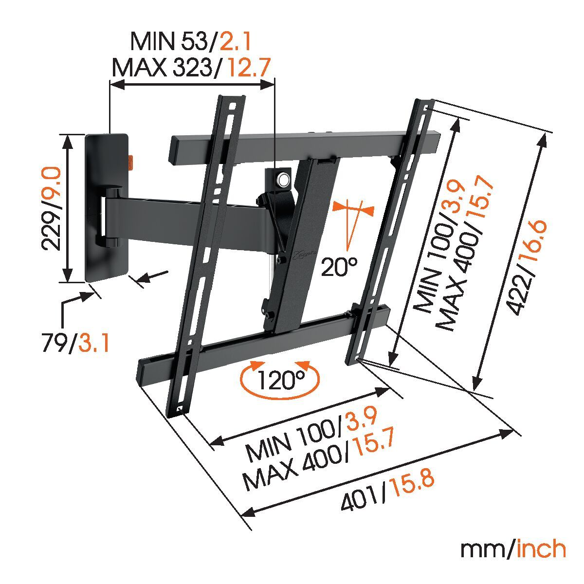 Vogel's WALL 3225 Full-Motion TV Wall Mount - Suitable for 32 up to 55 inch TVs - Motion (up to 120°) - Tilt up to 20° - Dimensions