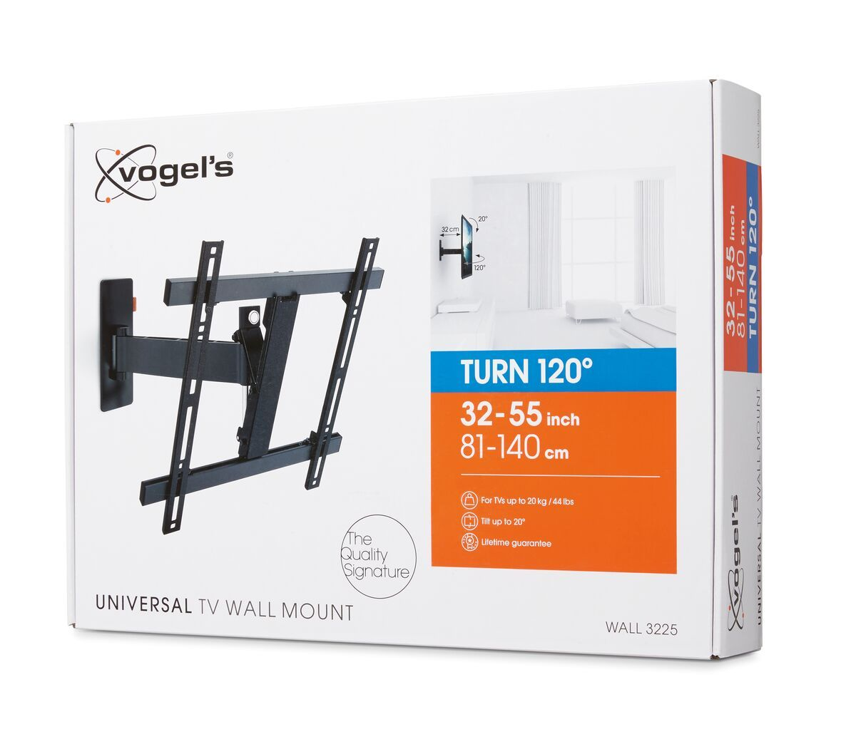 Vogel's WALL 3225 Full-Motion TV Wall Mount - Suitable for 32 up to 55 inch TVs - Motion (up to 120°) - Tilt up to 20° - Pack shot 3D