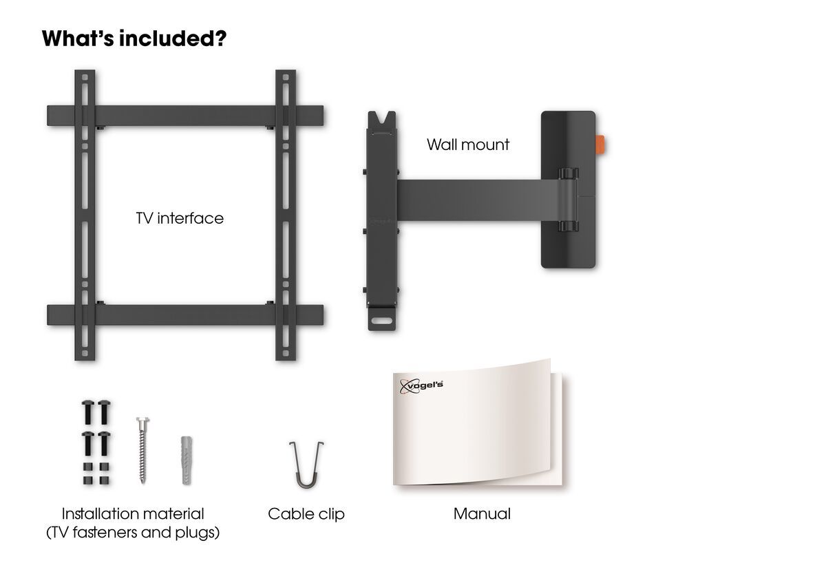 Vogel's WALL 3225 Full-Motion TV Wall Mount - Suitable for 32 up to 55 inch TVs - Motion (up to 120°) - Tilt up to 20° - What's in the box