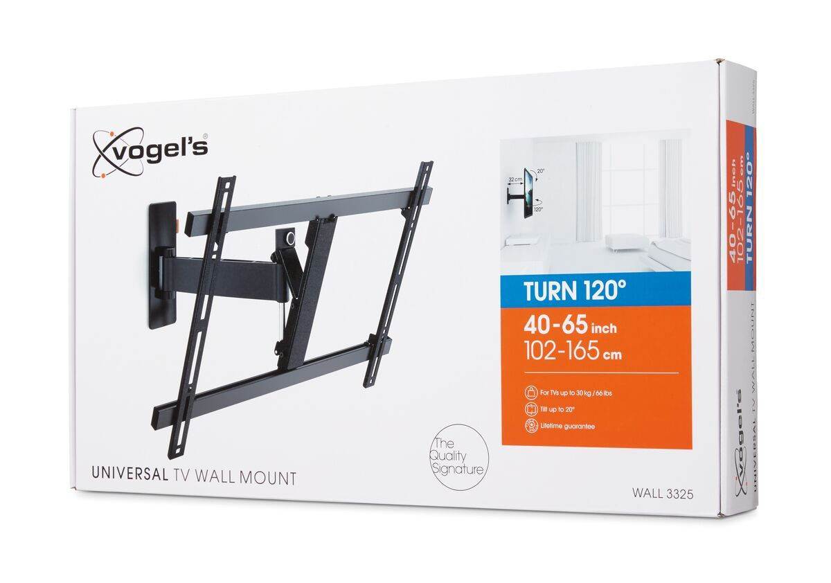 Vogel's WALL 3325 Full-Motion TV Wall Mount - Suitable for 40 up to 65 inch TVs - Motion (up to 120°) - Tilt up to 20° - Pack shot 3D