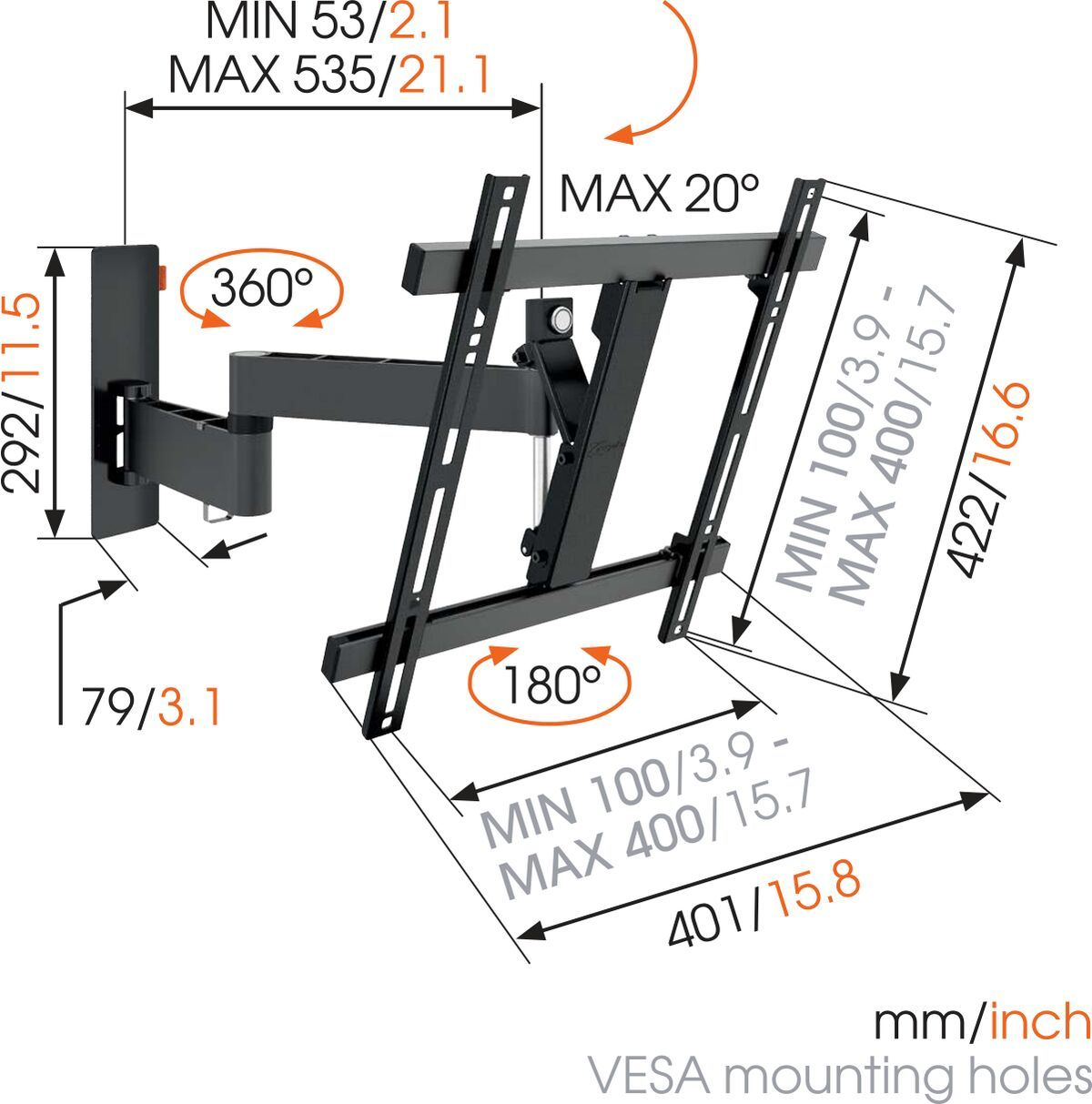 Vogel's WALL 2245 Full-Motion TV Wall Mount (black) - Suitable for 32 up to 55 inch TVs - Up to 180° - Tilt up to 20° - Dimensions