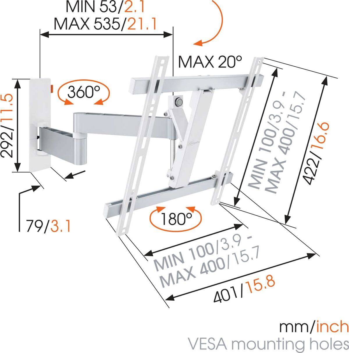 Vogel's WALL 2245 Full-Motion TV Wall Mount (white) - Suitable for Up to 180° - Suitable for Tilt up to 20° - Suitable for Dimensions