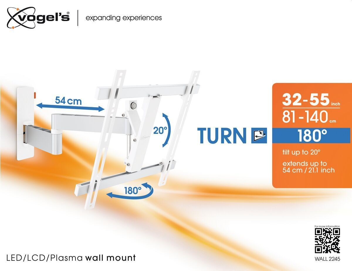Vogel's WALL 2245 Full-Motion TV Wall Mount (white) - Suitable for Up to 180° - Suitable for Tilt up to 20° - Suitable for Packaging front