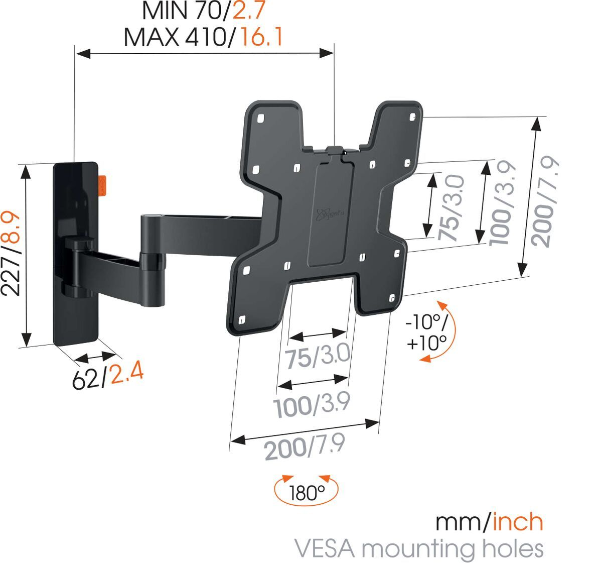 Vogel's WALL 3145 Full-Motion TV Wall Mount (black) - Suitable for 19 up to 43 inch TVs - Full motion (up to 180°) - Tilt -10°/+10° - Dimensions