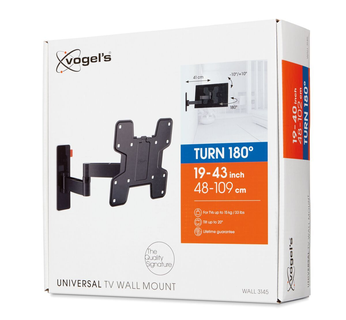 Vogel's WALL 3145 Full-Motion TV Wall Mount (black) - Suitable for 19 up to 43 inch TVs - Full motion (up to 180°) - Tilt -10°/+10° - Pack shot 3D