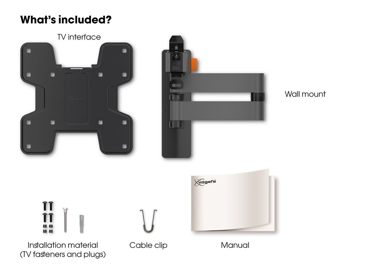 Vogel's WALL 3145 Full-Motion TV Wall Mount (black) - Suitable for 19 up to 43 inch TVs - Full motion (up to 180°) - Tilt -10°/+10° - What's in the box