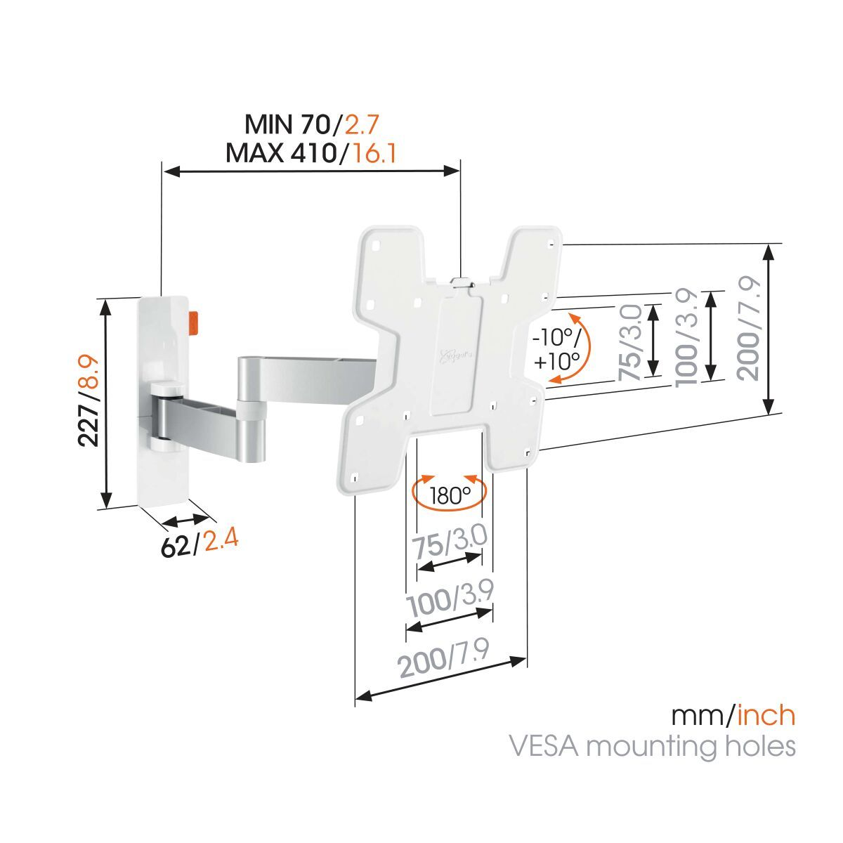 Vogel's WALL 3145 Full-Motion TV Wall Mount (white) - Suitable for 19 up to 43 inch TVs - Full motion (up to 180°) - Tilt -10°/+10° - Dimensions