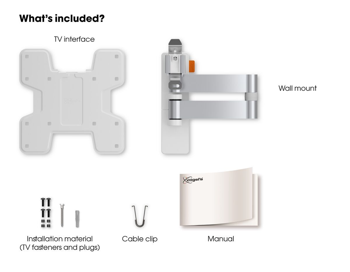 Vogel's WALL 3145 Full-Motion TV Wall Mount (white) - Suitable for 19 up to 43 inch TVs - Full motion (up to 180°) - Tilt -10°/+10° - What's in the box