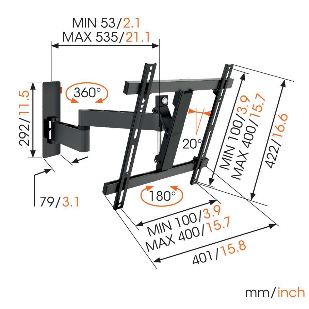 Vogel's WALL 3245 Full-Motion TV Wall Mount (black) - Suitable for Full motion (up to 180°) - Suitable for Tilt up to 20° - Suitable for Dimensions