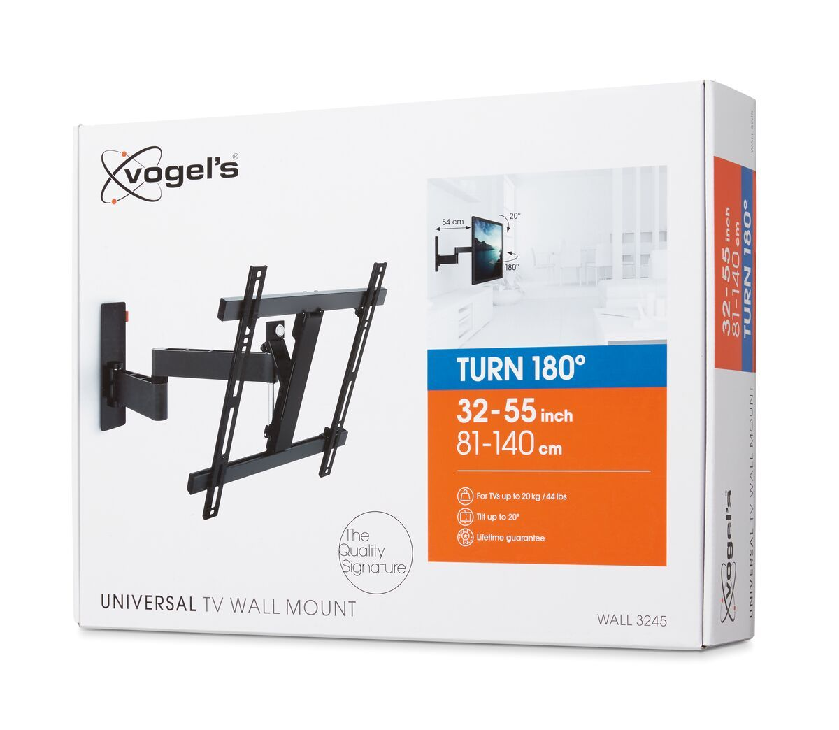 Vogel's WALL 3245 Full-Motion TV Wall Mount (black) - Suitable for Full motion (up to 180°) - Suitable for Tilt up to 20° - Suitable for Pack shot 3D