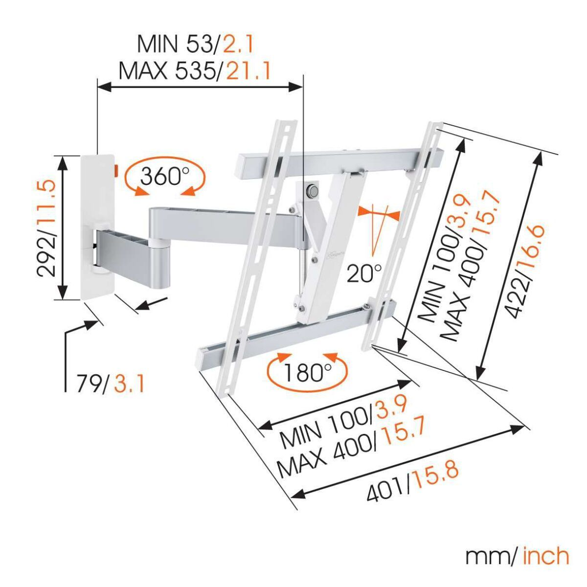 Vogel's WALL 3245 Full-Motion TV Wall Mount (white) - Suitable for 32 up to 55 inch TVs - Full motion (up to 180°) - Tilt up to 20° - Dimensions