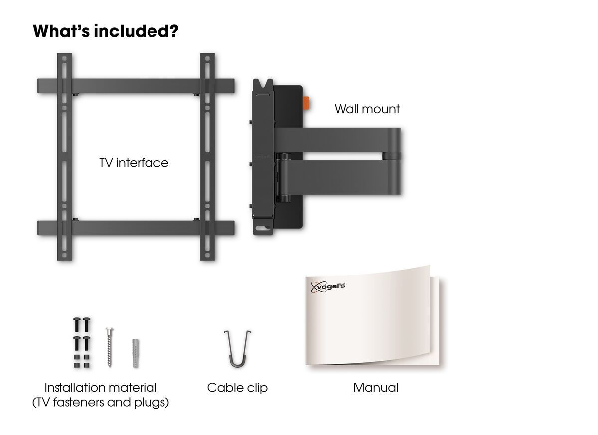 Vogel's WALL 3245 Full-Motion TV Wall Mount (black) - Suitable for Full motion (up to 180°) - Suitable for Tilt up to 20° - Suitable for What's in the box
