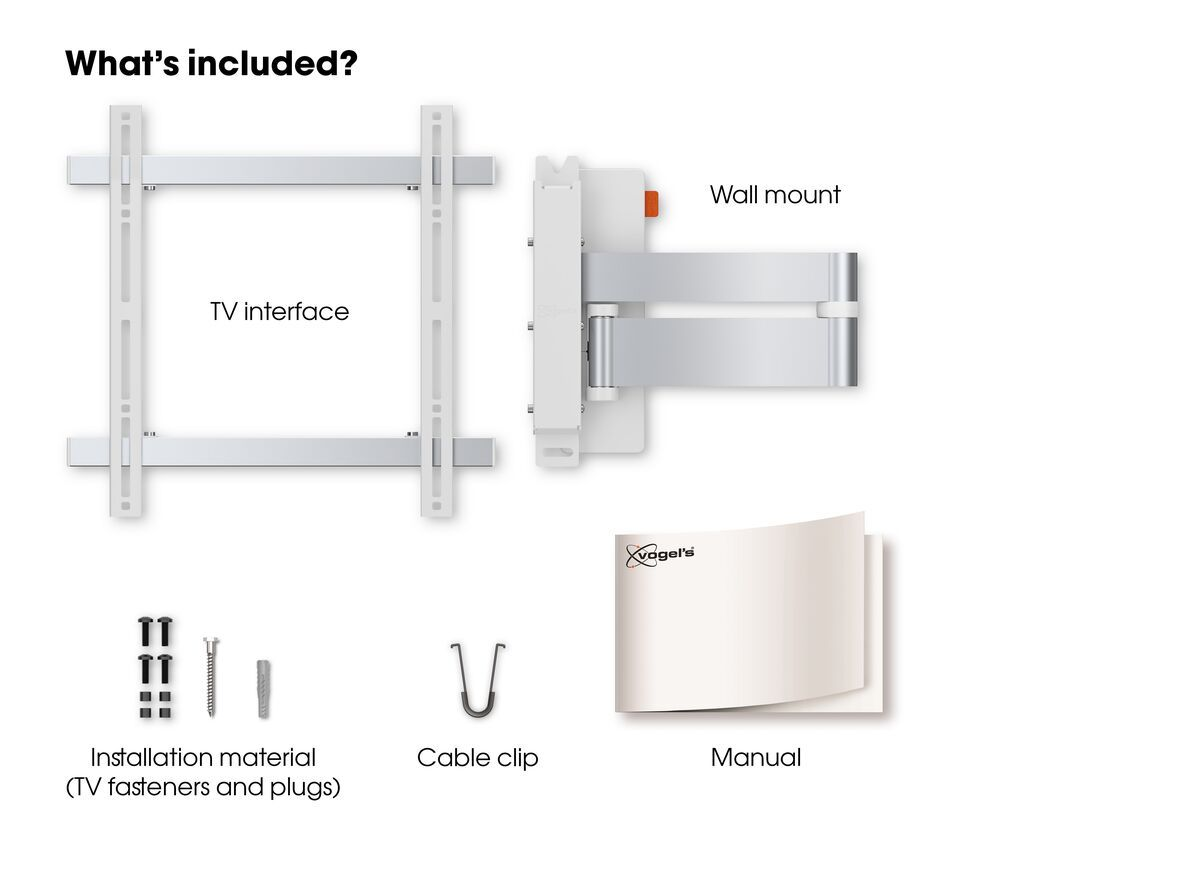 Vogel's WALL 3245 Full-Motion TV Wall Mount (white) - Suitable for 32 up to 55 inch TVs - Full motion (up to 180°) - Tilt up to 20° - What's in the box