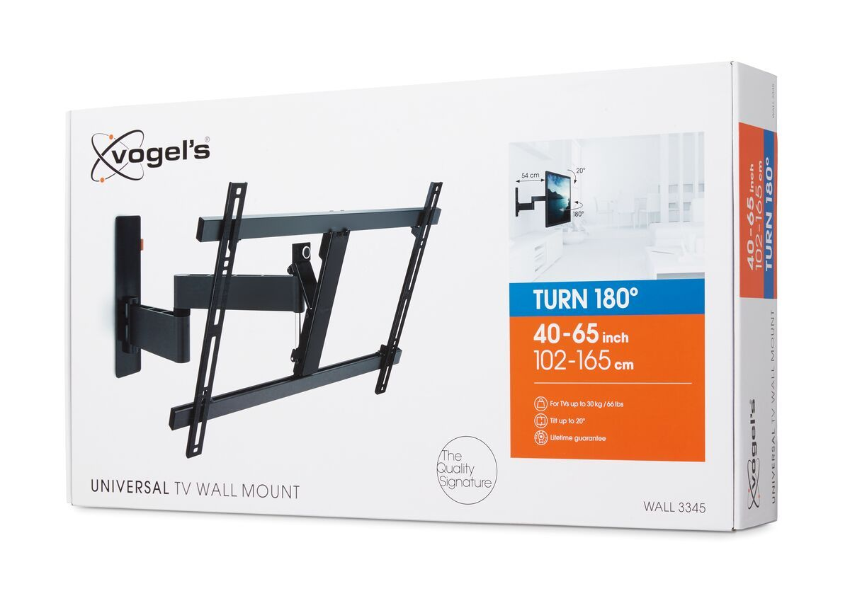Vogel's WALL 3345 Full-Motion TV Wall Mount (black) - Suitable for 40 up to 65 inch TVs - Full motion (up to 180°) - Tilt up to 20° - Pack shot 3D