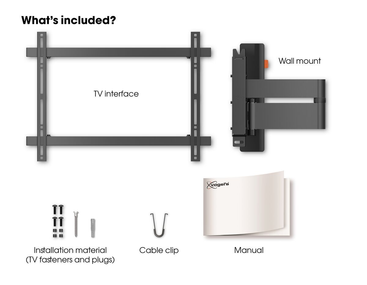 Vogel's WALL 3345 Full-Motion TV Wall Mount (black) - Suitable for 40 up to 65 inch TVs - Full motion (up to 180°) - Tilt up to 20° - What's in the box