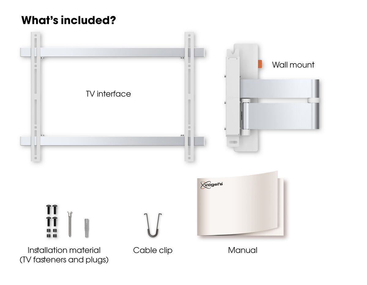Vogel's WALL 3345 Full-Motion TV Wall Mount (white) - Suitable for 40 up to 65 inch TVs - Full motion (up to 180°) - Tilt up to 20° - What's in the box