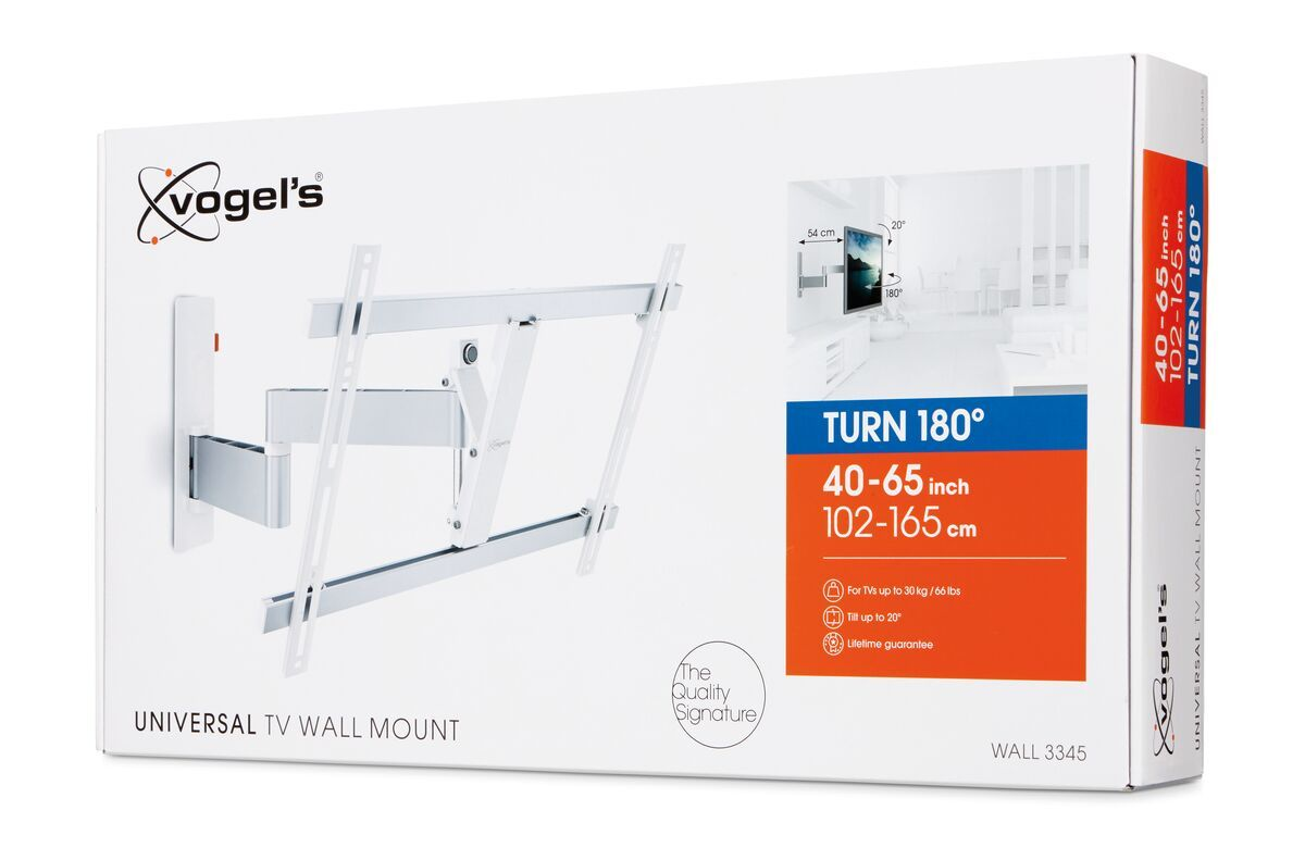 Vogel's WALL 3345 Full-Motion TV Wall Mount (white) - Suitable for 40 up to 65 inch TVs - Full motion (up to 180°) - Tilt up to 20° - Pack shot 3D